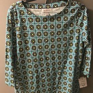 Liz Claiborne 3/4 sleeve printed top in large